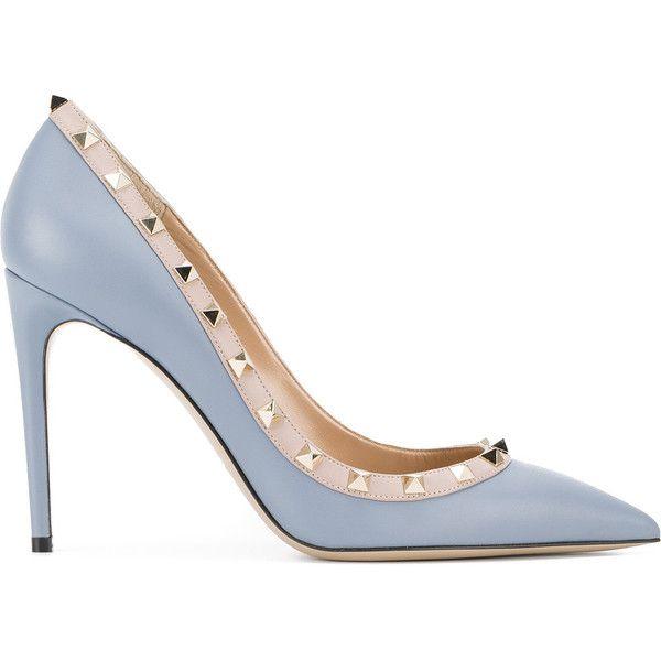 Valentino Valentino Garavani Rockstud Pumps ($825) ❤ liked on Polyvore featuring shoes, pumps, stiletto shoes, valentino pumps, pointed toe stilettos, embellished pumps and blue pumps
