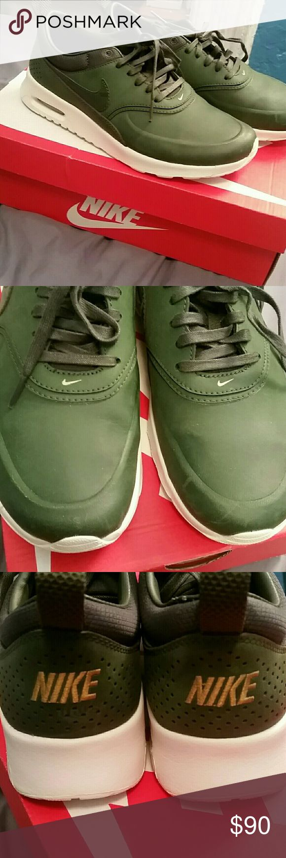 Nike Air Max Thea Beautiful green color. Love these but a bit too tight. See pics for all the details and ask questions! Nike Shoes Sneakers