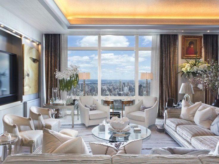 Le salon d'un appartement dans la Time Warner Center de New York