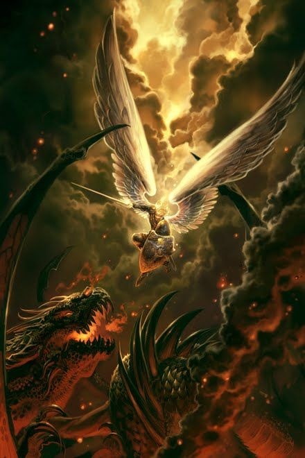 Na mitologia cristã o arcanjo Miguel é o anjo guerreiro, senhor dos exércitos celestes e quem derrotou Lúcifer e suas hordas demônicas.