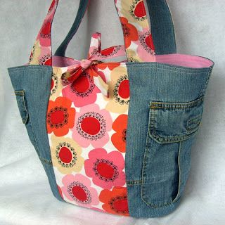 Poppy eco tote made from recycled and reclaimed fabrics (a skirt and cargo jeans!)