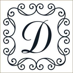 Scroll Framed Monogram Decal | Vinyl Stencil-monogram decals, scroll frame, initial, personalized, decal, sticker, stencil
