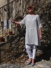 Ola Tunic Top – This loose tunic-style topfeatures magyar sleeves and exposed bindings...