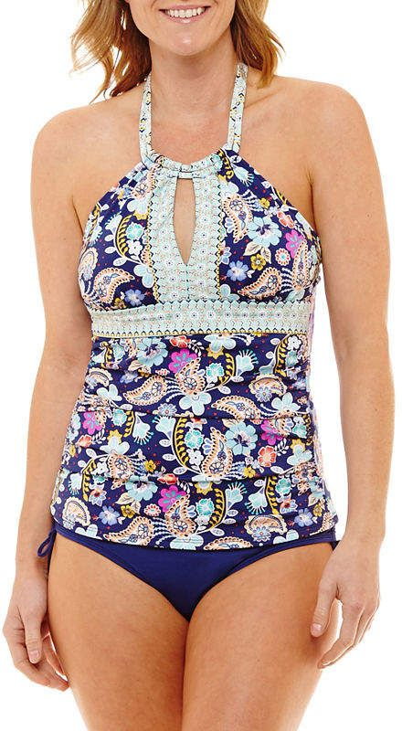 ba2e9553c7 LIZ CLAIBORNE Liz Claiborne Paisley Tankini Swimsuit Top. Pretty colors on  this bathing suit.