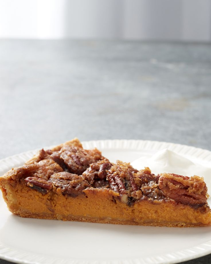 Pumpkin-Pecan Tart | Martha Stewart Living - Part pumpkin pie, part pecan pie, this recipe from chef Thomas Joseph combines the best of both and is the perfect holiday dessert.