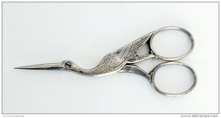 ciseau ancien en métal argenté forme cigogne ciseaux couture - Delcampe.net