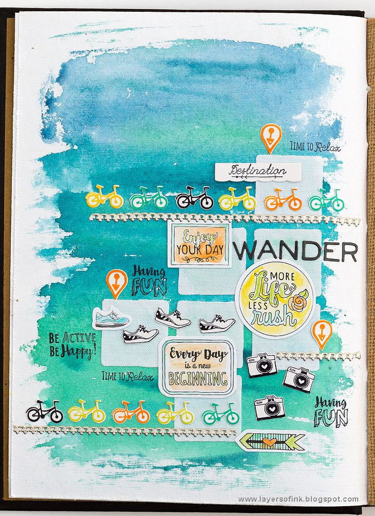 Be Active Art Journaling Tutorial on the Sizzix blog, by Anna-Karin Evaldsson. Made with dies, stamps and stickers by Katelyn Lizardi, in Dina Wakley's Media Journal.