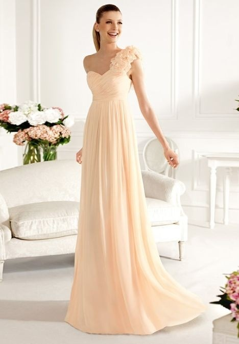 Chiffon One-Shoulder Sweetheart Empire Long Bridesmaid Dress. Love and under $200!!