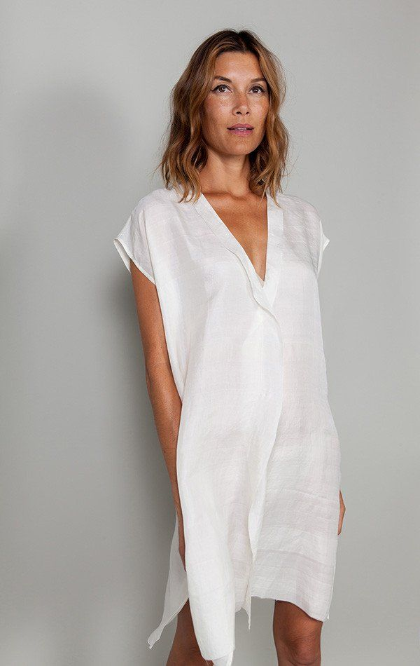 "Handwoven silk tunic with unfinished edge-1 left Color: Off-white - — Length 36"" - — Width (taken across chest) 23.5"" - — One size fits most 2-10 - — Free domestic shipping"