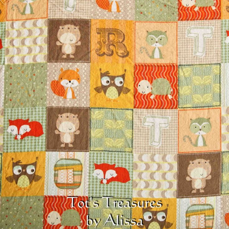 Woodland Animals Baby Blanket....Flannel and Your Choice of Minky and Satin Ruffle...MADE TO ORDER. $34.99, via Etsy.