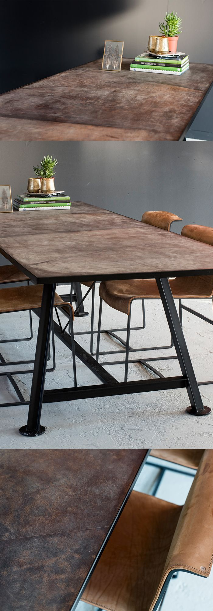 IN STOCK Brown Leather Table #brownleathertable Design by VanGijs