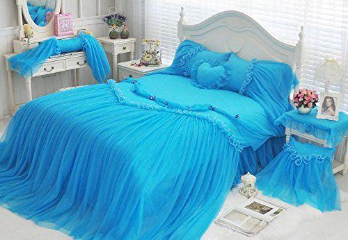 Sisbay Blue Romantic Cinderella Bedding Wedding for Girls,Princess Unique Duvet Cover Valentine's day, Kids Full Size Birthday Gift Bed Skirt Pillows, 7pcs