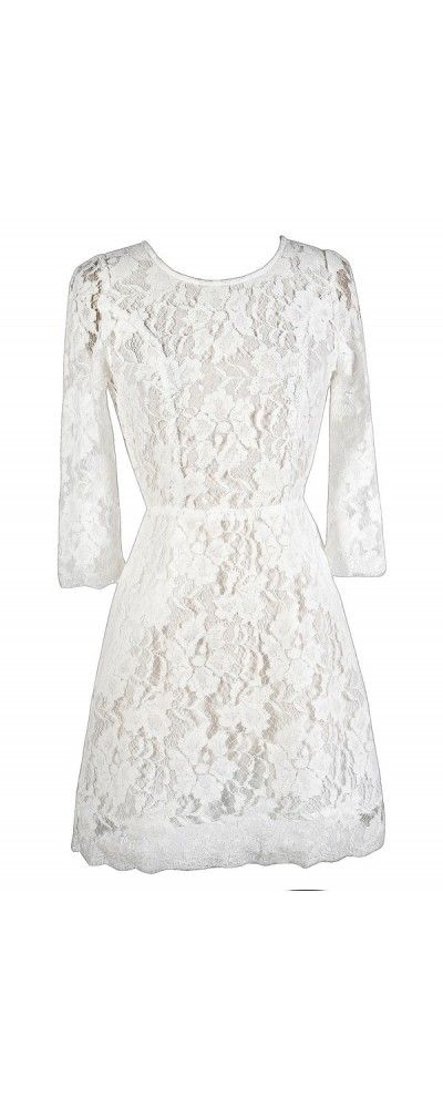 Simple Yet Stunning Lace Open Back Three Quarter Sleeve Dress in Off White  www.lilyboutique.com