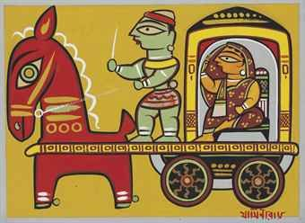 UNTITLED, LADY IN A CARRIAGE, Jamini Roy (1887-1972), gouache on card
