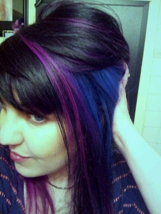color block hair | New Elumen blue & pink & purple hair. Color block. | Hair