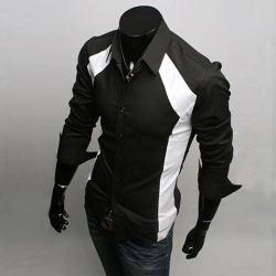 $13.86 Long Sleeves Split Joint Black and White Cotton Shirt For Men
