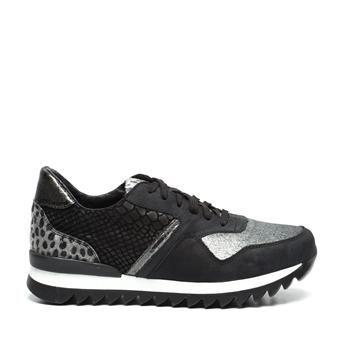 Manfield zwarte leren sneakers