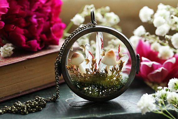 Гриб террариум ожерелье миниатюрный террариум ювелирные изделия