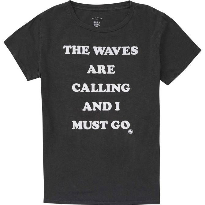 """Because summer days can't be put on hold. A """"The Waves Are Calling And I Must Go"""" graphic is printed onto a 100% cotton, overdyed, relaxed fit boyfriend..."""