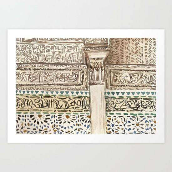 Collect your choice of gallery quality Giclée, or fine art prints custom trimmed by hand in a variety of sizes with a white border for framing. https://society6.com/product/bou-inania-madrasa-fes-morocco_print?curator=wellglow