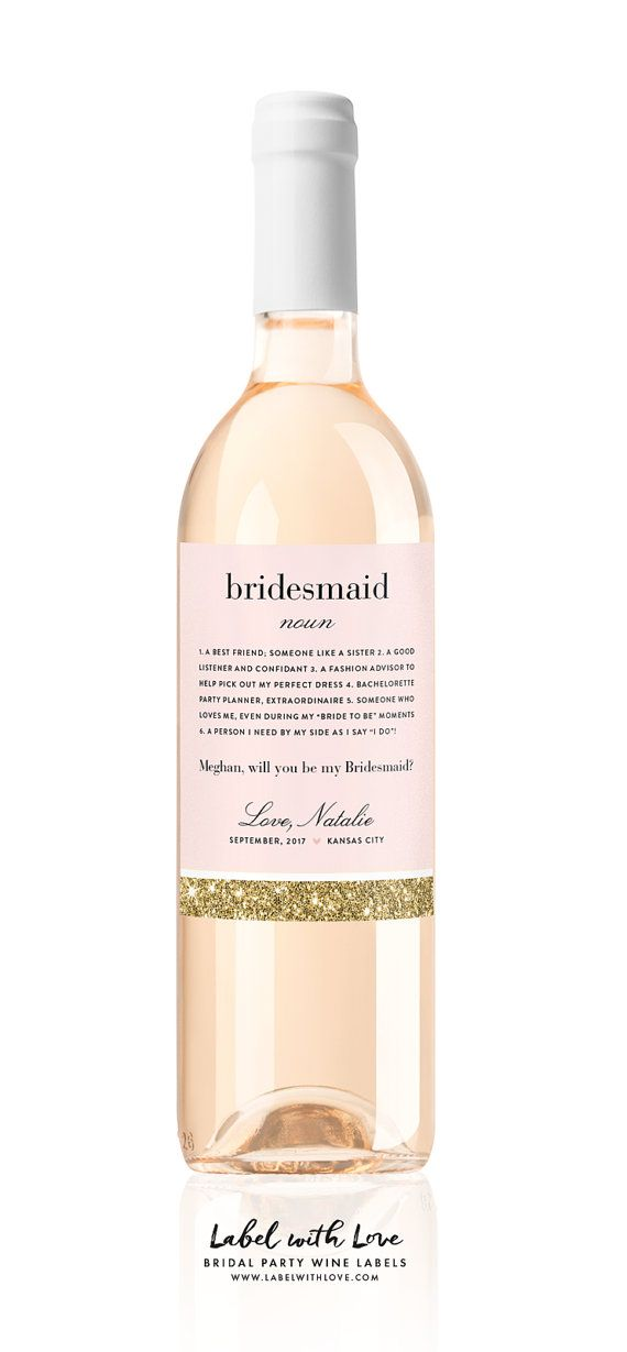 Will You Be My Bridesmaid Definition wine labels by LabelWithLove