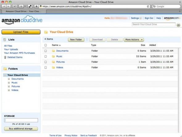 Amazon Cloud Drive / Rakiplerine oranla daha çok kendi ürünlerine yönelik bir servis izlenimi veren Amazon Cloud Drive, 5 GB ücretsiz depolama alanı sunan bir diğer bulut paylaşım uygulaması. Zira Amazon'un temel hizmetlerinden kitap ve müzik depolama konusunda kullanıcılara avantaj sağladığı görülen hizmet aracılığıyla e-posta, takvim ve telefon rehberi senkronize edilemiyor.  http://sosyalmedya.co/bulut-depolama-servisleri/7/