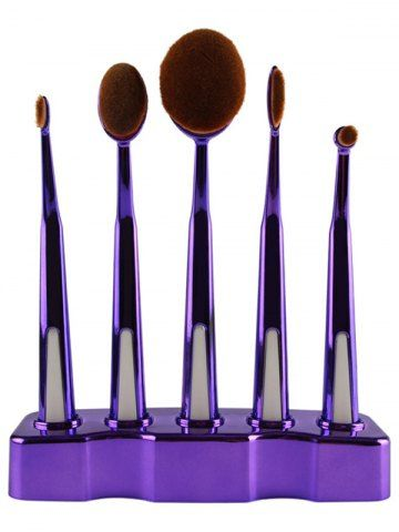 PURPLE 5 Pcs Nylon Oval Toothbrush Makeup Brushes Set with Brush Stand