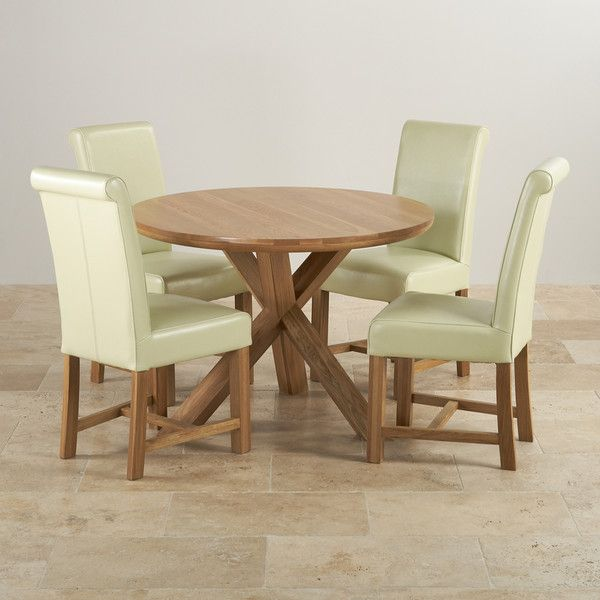 Natural Solid Oak Dining Sets 3ft 7 Dining Table With 4 Chairs