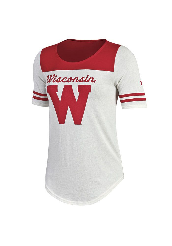 Under Armour Wisconsin Badgers Womens Ivory Iconic Scoop T Shirt 55291312 Womens Jersey Tee Wisconsin Badgers Apparel Womens Jersey