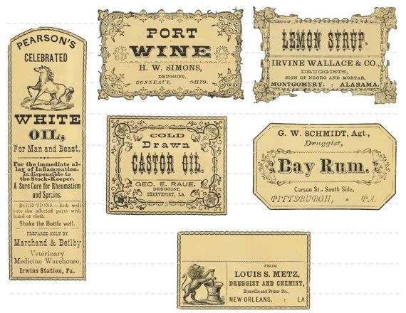 Digital Download Collage Sheet Antique 1800's Vintage Druggists Apothecary Pharmacy Labels 12 Rum Port Wine
