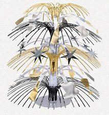 TISCHKASKADE 21,6cm gold silber schwarz Tischdeko Silvester Dekoration
