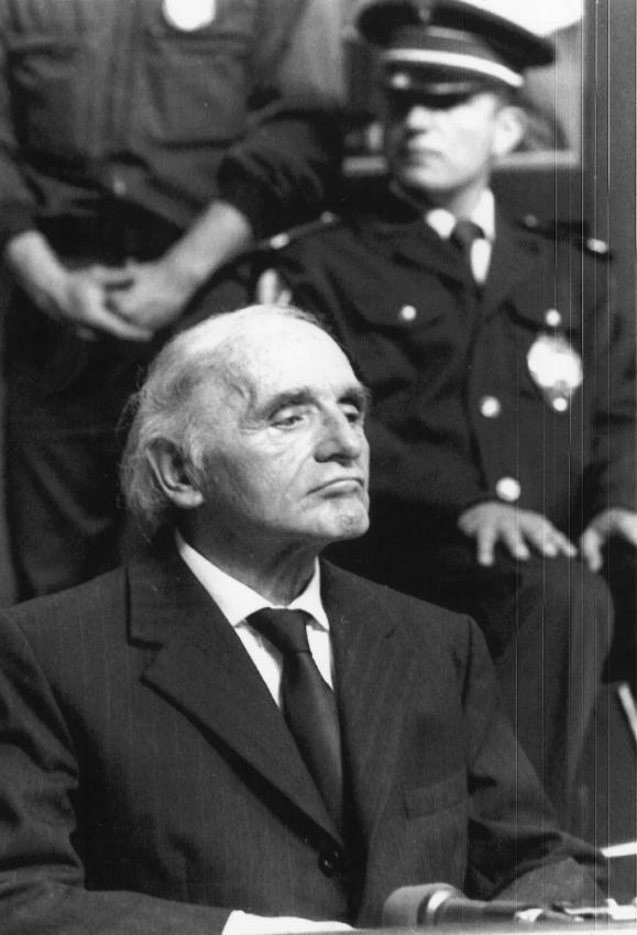 """War criminal Klaus Barbie : Klaus Barbie, Chef der Gestapo in France during his trail.  He was accused of crimes against humanity and sentenced to life imprisonment. From 1942 to 1944 he was the commander of """"Abteilung IV"""" from the """"Sicherheitsdienst Außenstelle  Lyon"""" from the Gestapo."""