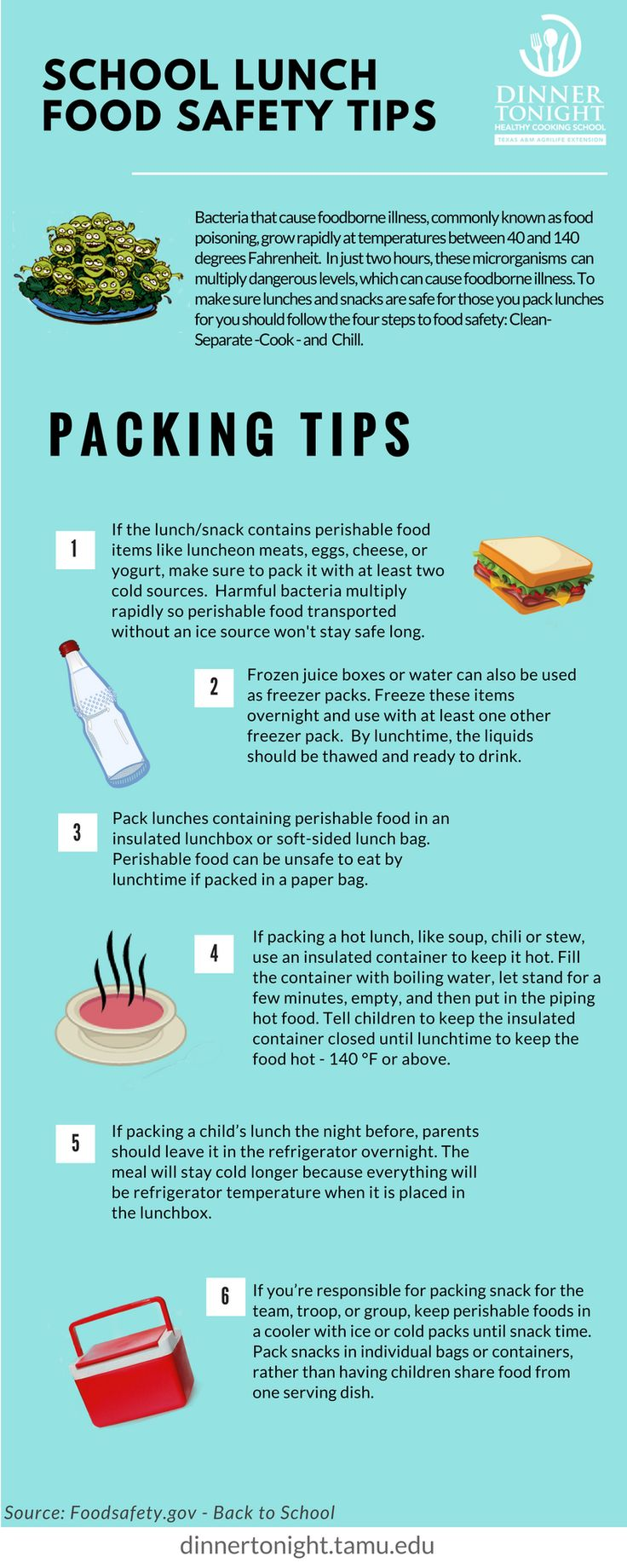 Six Easy Steps for Lunch Box Food Safety School lunch