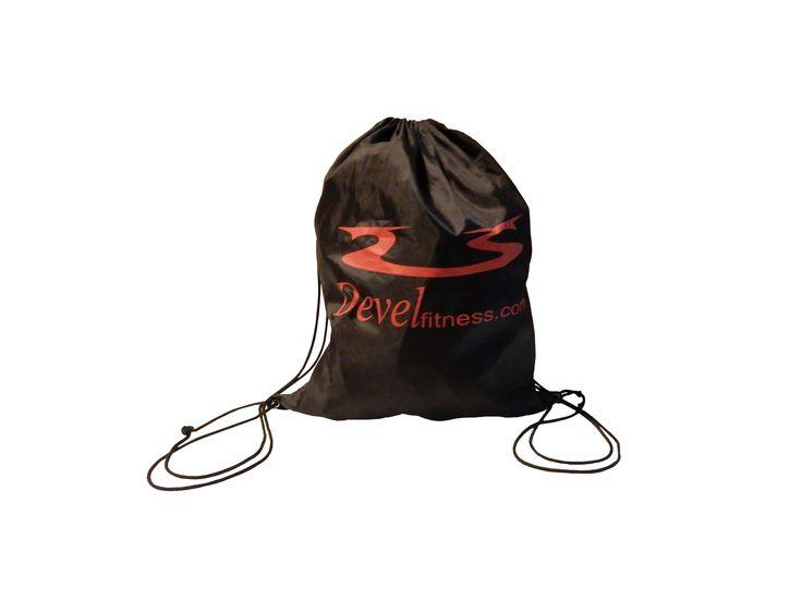 Devel Fitness New Travel Drawstring Sports Backpack in Black Water Resistant Nylon