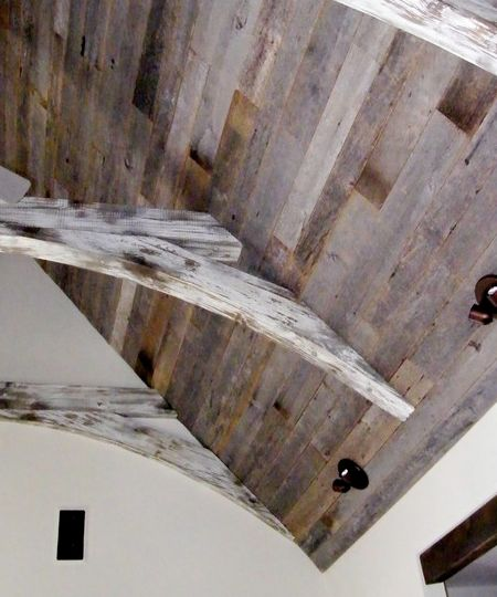 Reclaimed barnwood ceiling - support brackets for 5th flr