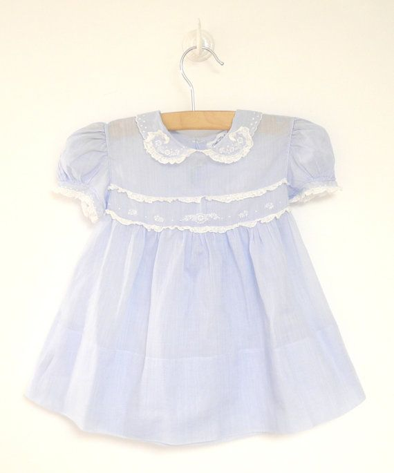 Vintage Baby Clothes, 1940's Light Blue and White Lace Baby Girl Dress, Saks Fifth Avenue, Vintage Baby Dress, Size 6 Months