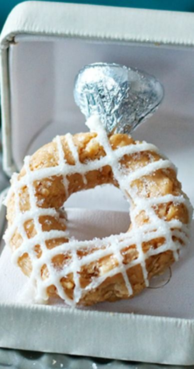 Engagement Ring Cookie Butter Rice Krispie Treats Recipe ~ fun for an Engagement Party and Bridal Showers