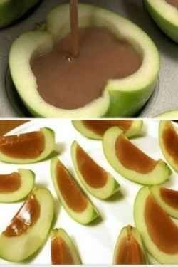 Cut apples in half and take out the core and seeds.  Melt carmel over medium heat.  Pour carmel into apple halves and put in fridge until cool.  Slice apples into wedges and serve  with a toothpick.  Easy and NOT messy!