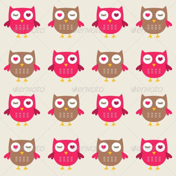 Seamless owls vector pattern.