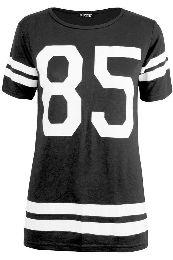Womens Ladies Varsity 85 American Sports Baseball T Shirt Baggy Oversized Tops