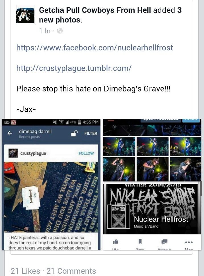 This band desacated Dimebag Darrell's grave.  Report!!!!!! \m/ Pantera!