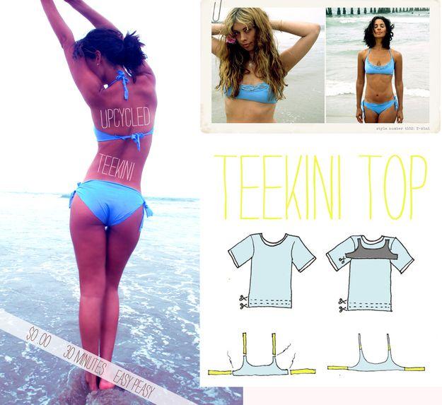Make a bikini out of a t-shirt.