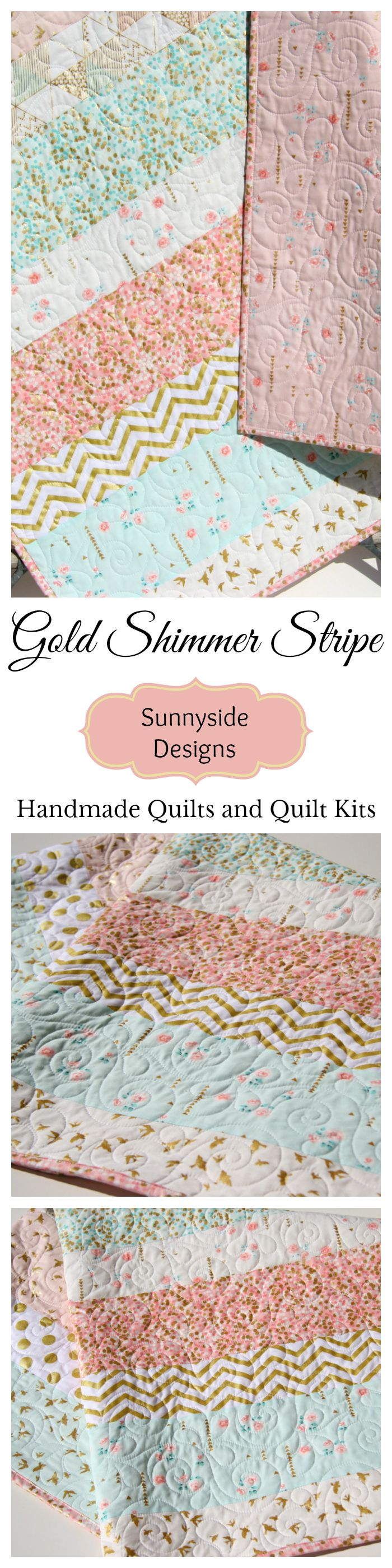 Gold Baby Nursery Quilt, Handmade Baby Quilt for Sale, Pink Coral Mint Green Blue Gold Metallic Glitz Brambleberry, Baby Shower Gift Heirloom Arrows Roses Flowers, Baby Quilt Kit Toddler Quilt by Sunnyside Designs