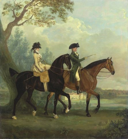 Thomas Gooch, 1750–1802, British, Marcia Pitt and Her Brother George Pitt, Later second Baron Rivers, Riding in the Park at Stratfield Saye House, Hampshire, 1782, Oil on canvas, Yale Center for British Art, Paul Mellon Collection
