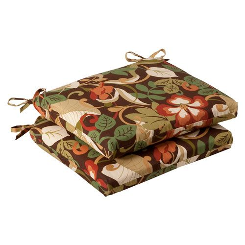 Outdoor Brown/Green Tropical Seat Cushion Squared , Set of Two