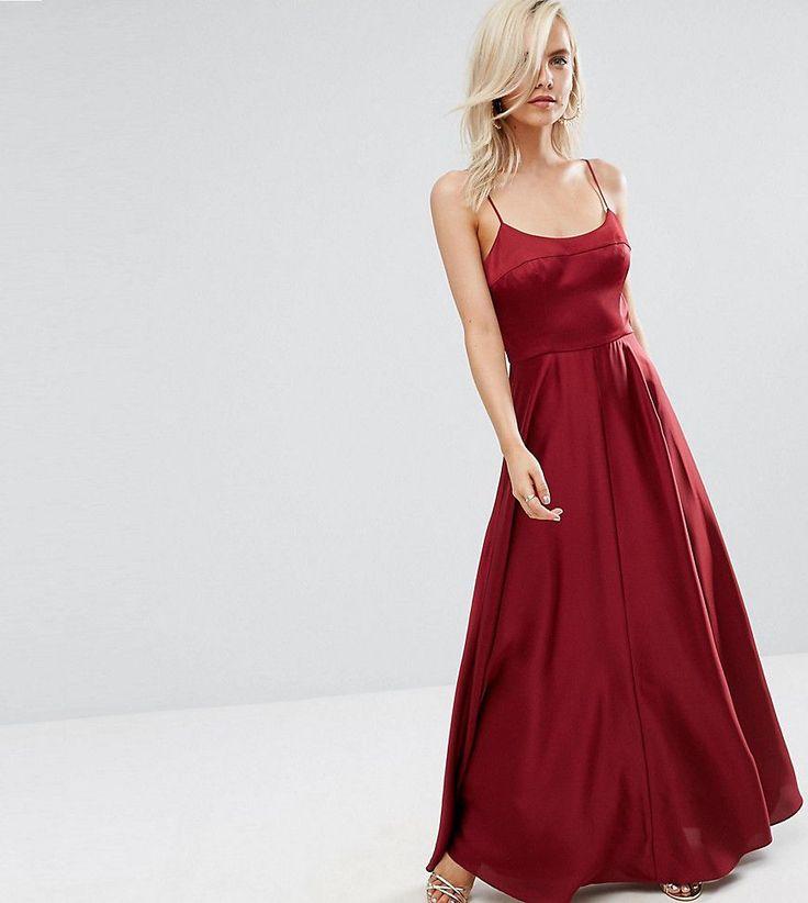 ASOS PETITE Cami Square Neck Maxi Dress - Red