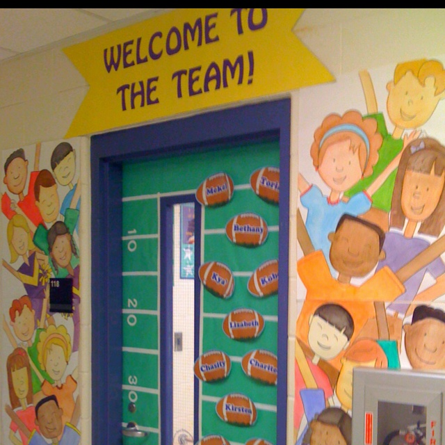 "My 3rd Grade door! My room was the ""team"" theme"