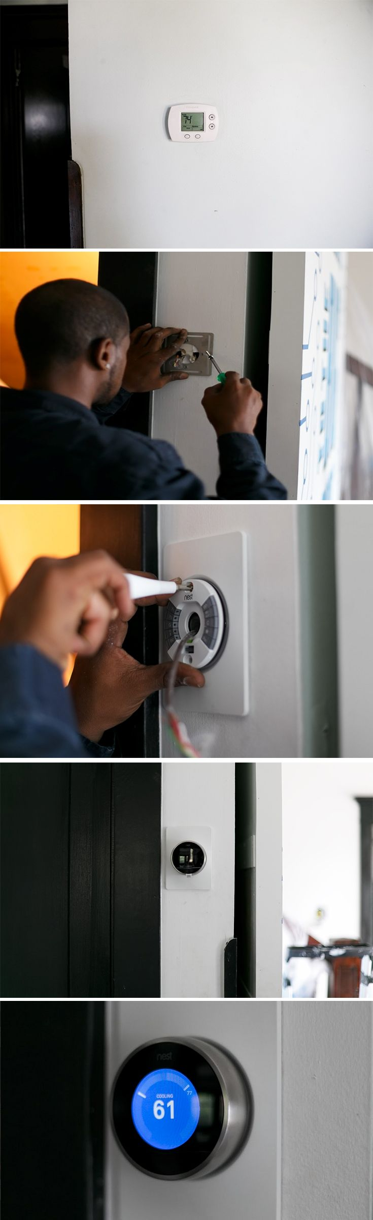 Out with the old, in with the new. A new Nest Thermostat gets added to the wall of the Big House.  With the Nest Thermostat we made installation simple. Three out of four people install the Nest Thermostat themselves.