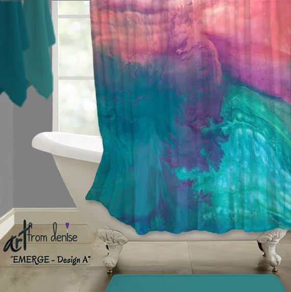 Bathroom decor. Colors in this shower curtain include teal, aqua, turquoise blue, coral, pink, and purple. Artist - Denise Cunniff - ArtFromDenise.com. View more info at https://www.etsy.com/listing/526425927