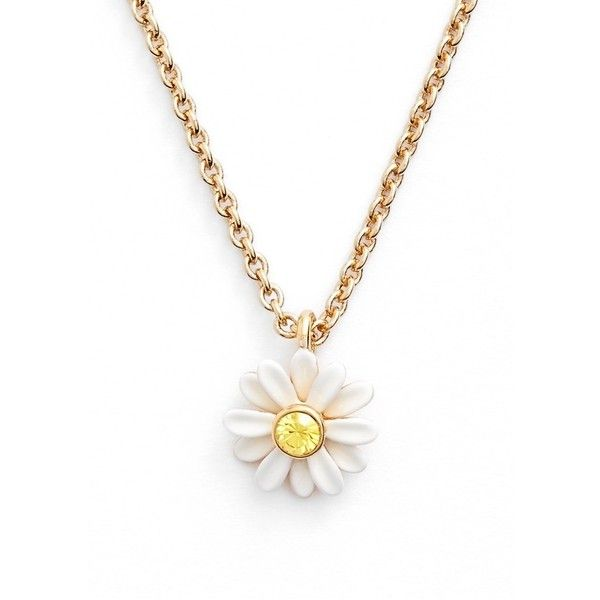 kate spade new york 'dazzling daisies' pendant necklace found on Polyvore featuring jewelry, necklaces, white multi, white jewelry, pendant necklace, kate spade jewelry, daisy jewelry and white necklace